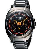 VOGUE 嶄新系列日曆時尚腕錶-IP黑X橘 9V0434DO