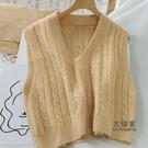 針織毛衣背心 學院風無袖背心馬甲女短款麻花V領針織坎肩毛衣馬甲夾潮 8色均碼