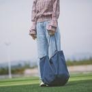 牛仔包 帆布包女新款學生韓版復古文藝原宿風極簡單肩包大包 - 古梵希