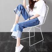 高腰闊腿牛仔褲女寬鬆九分春秋新款韓版夏裝學生bf風顯瘦直筒 沸點奇跡