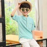 男童襯衫2018夏裝新款棉麻韓版中大童男孩12-15歲潮兒童短袖  XY4116 【KIKIKOKO】