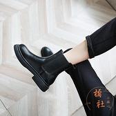 馬丁靴女秋冬短筒百搭平底切爾西短靴中筒靴【橘社小鎮】