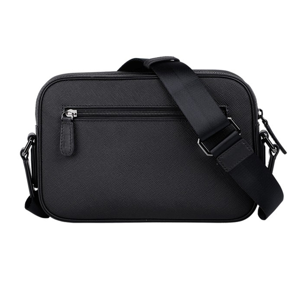【橘子包包館】VOVA 波隆納II系列橫式斜背包 真皮側背包 VA123S03BK 黑色