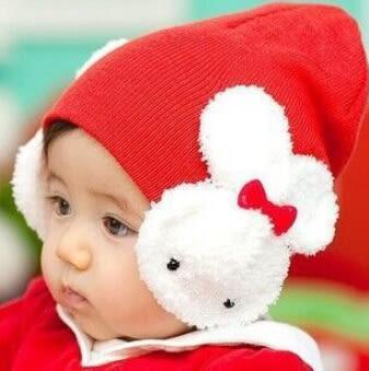 韓版嬰兒兒童小兔子護耳帽 寶寶卡通大兔蝴蝶結童帽
