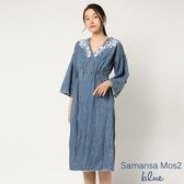 ❖ Hot item ❖ 花朵刺繡腰綁帶牛仔洋裝 - Sm2 BLUE