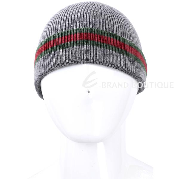 GUCCI 經典綠紅綠織紋反褶毛線帽(灰色) 1610014-06