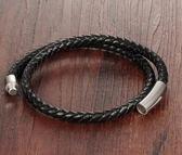 個性搖滾黑色編織皮質男士手鍊.