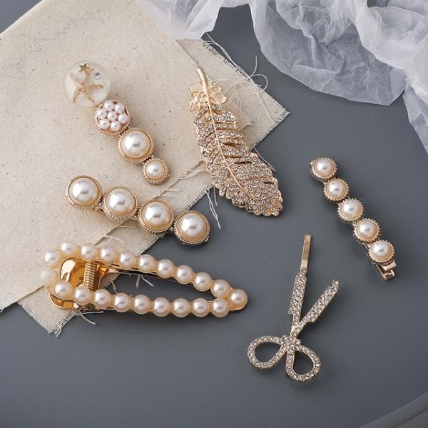 六件組.浪漫復古風珍珠水鑽多件造型髮夾.白鳥麗子