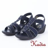 2018春夏新品kadia.舒適牛皮涼鞋(8103-50藍)