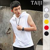 無袖帽T‧前短後長織帶飄帶設計素色無袖抽繩帽T‧五色【NTJBIP806】-TAIJI-