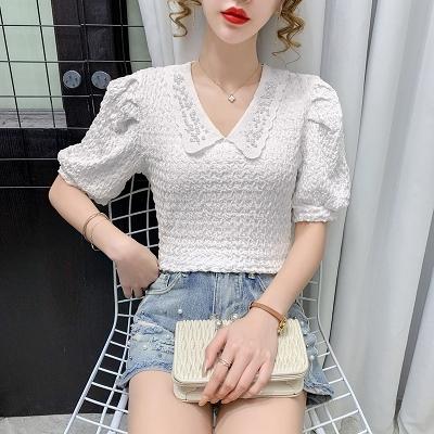 短袖襯衫~娃娃衫~蕾絲韓版娃娃領短袖襯衫港味顯瘦上衣女NA51G日韓屋