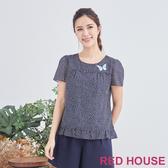 【RED HOUSE 蕾赫斯】蝴蝶點點上衣(藍色)
