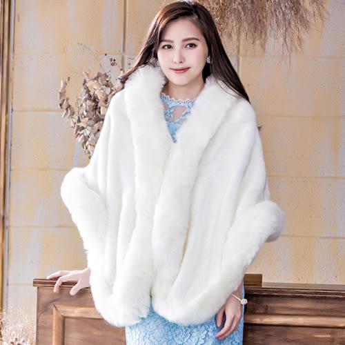 柔順加厚奢華仿兔狐毛保暖披肩~婚禮宴會穿搭~美之札