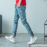 獨家專櫃淺洗色刷痕牛仔褲【B2B02】OBIYUAN 高規彈性抽繩束口丹寧褲 共1色
