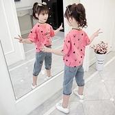 女童T恤2021新款夏裝中大童圓領短袖上衣女孩卡通寬鬆印花體恤潮 幸福第一站
