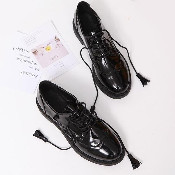 英倫皮鞋 2020新款英倫風小皮鞋女平底學生學院風女鞋zipper鞋軟妹chic單鞋【快速出貨】