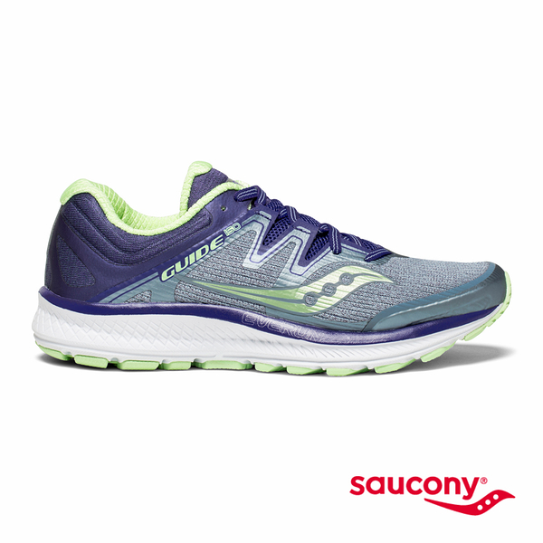 SAUCONY GUIDE ISO 專業訓練鞋款-灰x藍紫x薄荷綠