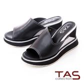 TAS寬版配色厚底楔型涼拖鞋-個性黑