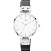 【台南 時代鐘錶 MOCKBERG】瑞典工藝 MO1002 北歐極簡風格ASTRID時尚腕錶 皮帶 銀 34mm
