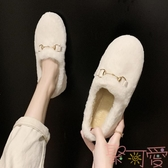 豆豆鞋女毛毛鞋秋冬季潮鞋外穿懶人一腳蹬奶奶鞋【聚可愛】