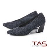 TAS 質感素面金屬後跟深口粗跟鞋-小香黑