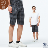 【NST Jeans】英倫復古灰格紋 吸濕排汗休閒短褲(中腰) 390(9496)