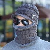 中老年保暖帽護耳帽子男冬天加絨毛線帽圍脖一體加厚騎行帽秋冬男帽護頸 街頭布衣