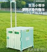 收納箱車載拉桿可折疊購物車汽車後備箱儲物箱多功能大容量置物箱【凱斯盾】