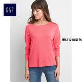 Gap女裝 簡約純色圓領長袖T恤 231904-漿紅玫瑰果色