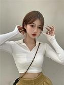 白色T恤女秋季2021新款韓版性感修身露臍打底衫短款百搭長袖上衣 寶貝計畫