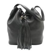 GUCCI 古馳 黑色牛皮竹節流蘇造型肩背包 水桶包 Lady Tassel Bucket Bag【BRAND OFF】