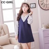 中大尺碼 (洋裝) 假兩件直條紋長袖洋裝- 適XL~5L《 18849HH》CC-GIRL