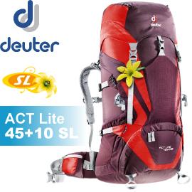 【Deuter 德國 ACT Lite 45+10 SL輕量拔熱式透氣背包《紫/紅》】3340215/背包/登山/健行★滿額送