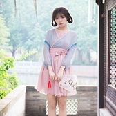 漢服 少女漢服改良日常雪紡長袖連衣裙兩件套春夏古典舞蹈演出服學生 快速出貨