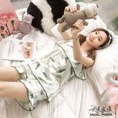 天使波堤【LD0382】居家睡衣吊帶背心可拆胸墊夏天冰涼絲質緞面二件式套裝睡衣性感罩衫