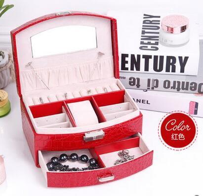 耳釘盒飾品盒首飾盒 公主 歐式 韓國木質帶鎖首飾收納盒戒指盒