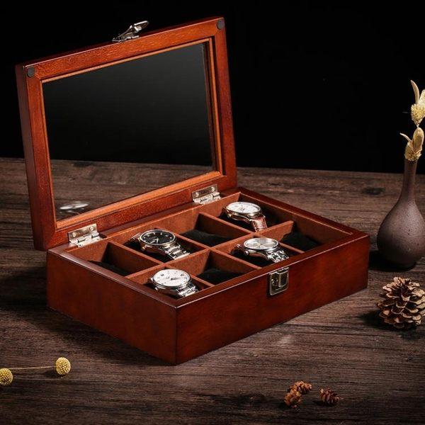 (交換禮物)木質手表盒天窗手鏈串首飾品盒手表木質收納盒展示盒收藏盒八表位