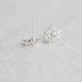 925純銀耳環(耳針式)-韓版時尚雪花鑲鑽生日情人節禮物女飾品73dr2【時尚巴黎】