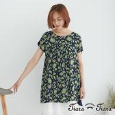 【Tiara Tiara】百貨同步 手繪風花葉紋短洋裝(白底/深藍底)