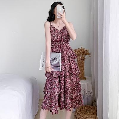 洋裝 連身裙S-XL吊帶連身裙女裝春夏法式顯瘦桔梗蛋糕雪紡碎花長裙子3236T537b快時尚