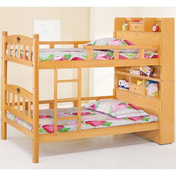 雙層床 AT-593-1 白木3.5尺多功能書架型雙層床 (不含床墊) 【大眾家居舘】