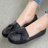 平底包鞋.MIT百搭縫線設計小流蘇豆豆鞋.白鳥麗子
