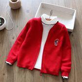 女童中大童純棉針織拉鍊開襟毛衣經典大紅色