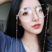 鏈條墨鏡女2018新款韓版潮近視防紫外線太陽眼鏡平光鏡 印象家品旗艦店
