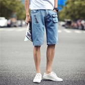 【現貨44】韓版薄彈力牛仔短褲男士五分褲青少年男裝5分中褲馬褲 XL~藍色