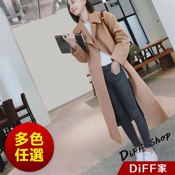 【DIFF】韓版中長款過膝顯瘦大衣外套 風衣 百搭外套 上衣 女裝 衣服 外套 風衣 大衣【J106】