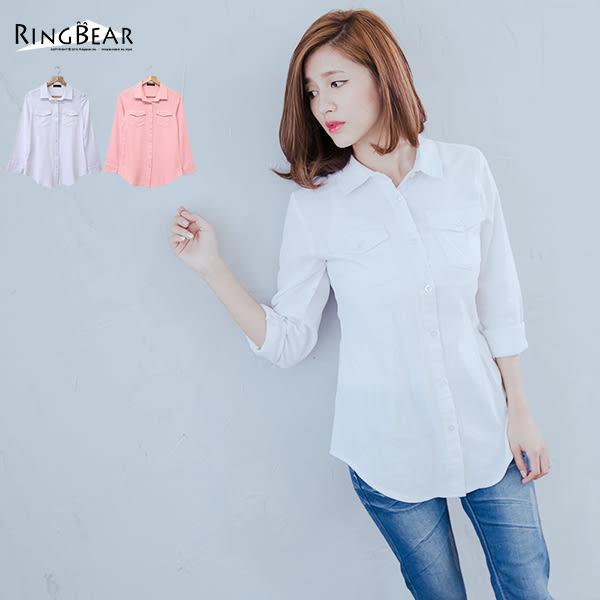 襯衫--纖瘦百搭素面基本款雙口袋圓弧下擺長袖長版襯衫(白.粉XL-5L)-I167眼圈熊中大尺碼