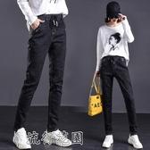 牛仔褲女鬆緊腰休閒寬鬆季正韓顯瘦哈倫長褲子高腰9686-1 交換禮物