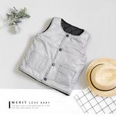 復古黑白格紋鋪棉鈕釦背心 保暖 口袋 文青 英倫 厚 男童 哎北比童裝