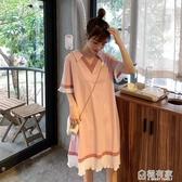 純棉孕婦裝洋裝上衣打底衫中長款T恤V領短袖夏裝寬鬆大碼孕婦裙